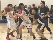 KASSIDY CHRISTENSEN HIGH RIVER TIMES/POSTMEDIA NETWORK. The Notre Dame Collegiate JV Boys basketball team participated in the NDC JV Boys basketball tournament on Jan. 26 and 27. Photographed is NDC's first game against St. Joseph's Collegiate Crusaders from Brooks on Jan. 26.