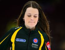 Northern Ontario skip Tracy Fleury of Sudbury takes part in a match at the Scotties Tournament of Hearts in Penticton, B.C., on Friday, Feb. 2, 2018. THE CANADIAN PRESS/Sean Kilpatrick
