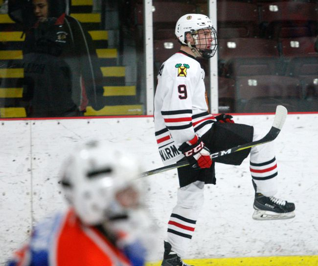Brockville Braves Eric Holland celebrates after scoring his first goal in Friday's game against the Kanata Lasers. Holland finished the game with a hat trick. (Jonathon Brodie/The Recorder and Times)