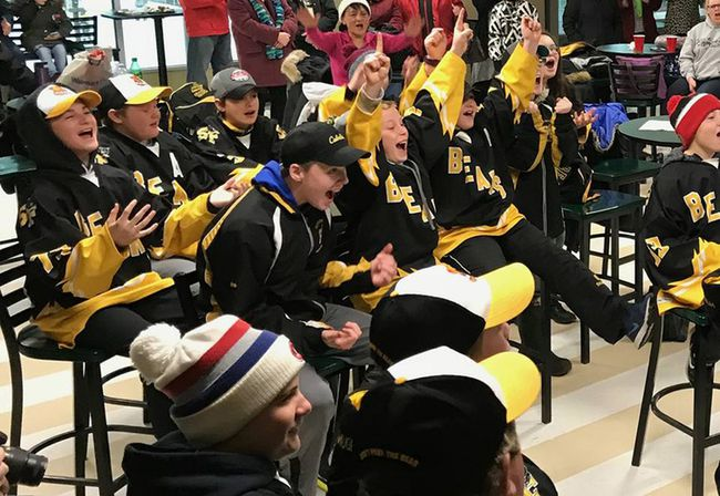 The Smiths Falls Bears PeeWee B team celebrates Thursday after finding out they made it to the finals of the Good Deeds Cup. (Contributed photo)