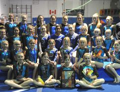 Shown here are the Brockville Gymnastics Club members that competed in the group's season-opening meet last weekend in Orleans. BGA finished with 36 medals as a team. (Jonathon Brodie/The Recorder and Times)