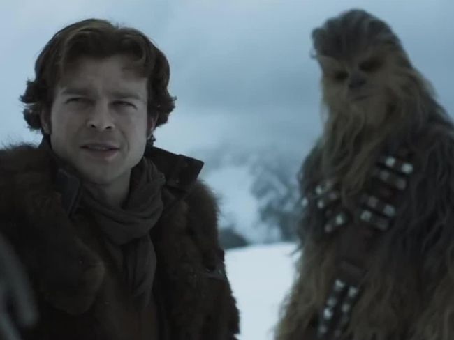 Alden Ehrenreich and Joonas Suotamo in a scene from Solo: A Star Wars Story. (Screenshot)