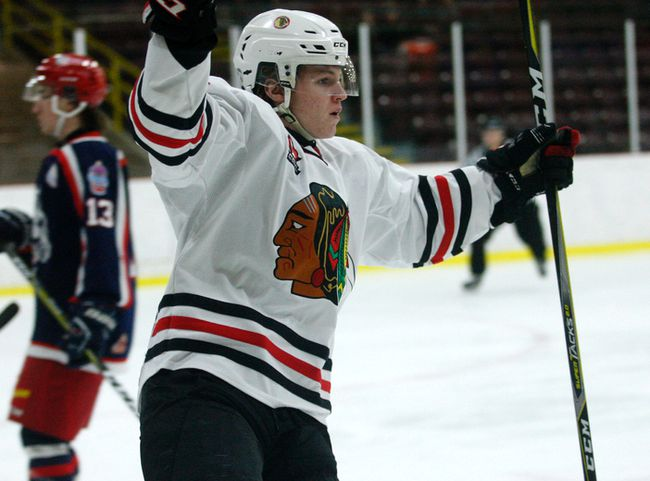 Brockville Braves Mike McArthur celebrates after scoring the first goal of the game on Monday in a matchup against the Cornwall Colts at the Memorial Centre. (Jonathon Brodie/The Recorder and Times)