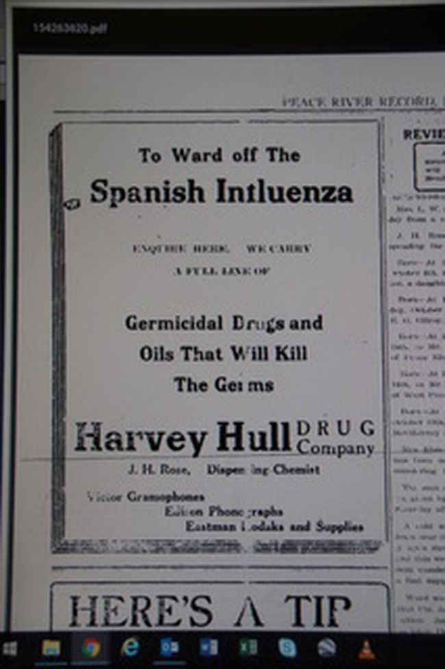 IMG_8327 – Harvey Hull's November 1, 1918 ad in Peace River Record, duplicated in several successive editions, along with encouragement to buy Victory Bonds for the war effort.