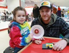 Abby Sisson and Cody Nicolaisen created eye-catching art and built Lego structures at Lambton Mall as part of the Organization for Literacy in Lambton's annual Family Literacy Day event on Jan. 27. CARL HNATYSHYN/SARNIA THIS WEEK
