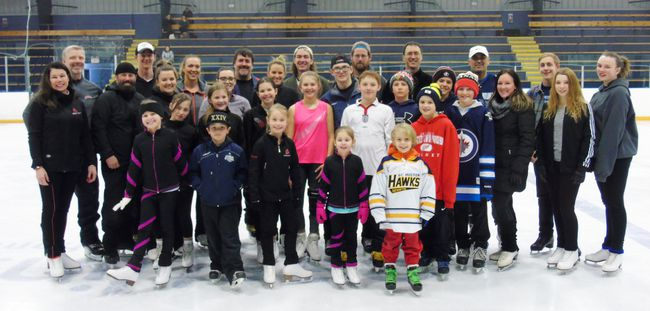 Most of the members of the cast of 17 teams that will compete in this year's Battle of the Blades took to the ice for their first session with their partners Feb. 5 at the Port Elgin Plex. The April 20 show is a fundraiser for the Saugeen Shores Skating Club and Caitlyn Cobean's Community Crusaders. Frances Learment/Shoreline Beacon