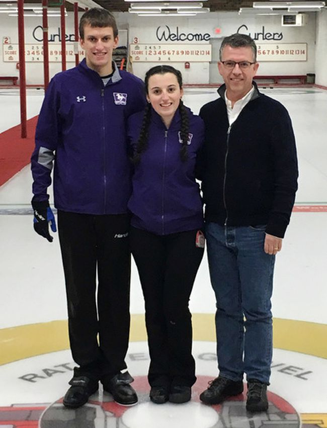 Aiden Poole, left, of Chatham, Ont., Emma Arnold of London, Ont., and coach Scott Arnold have qualified for the CurlON under-21 mixed doubles provincial championship March 30 to April 1, 2018, in Huntsville, Ont. (Contributed Photo)