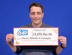 Maurice Thibeault on Jan. 4 picked up half of the just over $6-million lottery prize he won from the Sept. 20, 2017 LOTTO 6/49 draw on a ticket he purchased in Chatham. Controversy has surrounded the lottery win since Thibeault's former common-law girlfriend Denise Robertson claimed she was owed half of the winnings, because they had been purchasing lottery tickets together. This week, Robertson's lawyer said the battle is now going to court. Handout/Postmedia Network