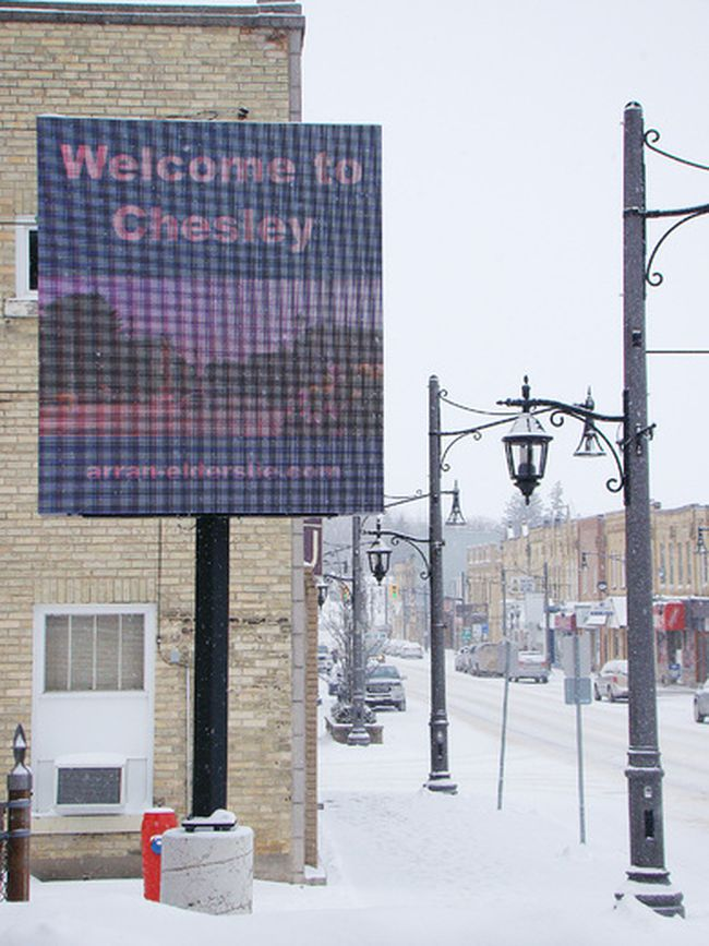 The new electronic sign in downtown Chesley located on the west side of 1st Avenue between the Post Office and Bijou Theatre.