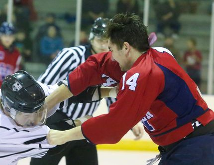 Leduc's Hunter Cuthbert and Wetaskiwin's Colton Martindale exchanged blows during a second period fight in the Icemen's last home game of the regular season Feb. 2. (Sarah O. Swenson/Wetaskiwin Times)