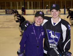 Western Mustangs coach Kelly Paton and player Emma Pearson during practice at Thompson Arena. (DEREK RUTTAN, The London Free Press)