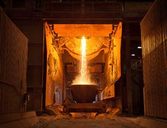 The smelting process at the Outokumpu ferrochrome plant in Tornio, Finland. Photo supplied by Outokumpu