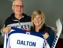 Larry and Karen Dalton, of Clinton, will be cheering on their son, Matt Dalton, who will tend goal for South Korea at the Pyeongchang Olympic Winter Games. Dalton, who plays for a Seoul team in the Asia League, was able to become a naturalized citizen so he's eligible to play on South Korea's Olympic squad. (MIKE HENSEN, The London Free Press)