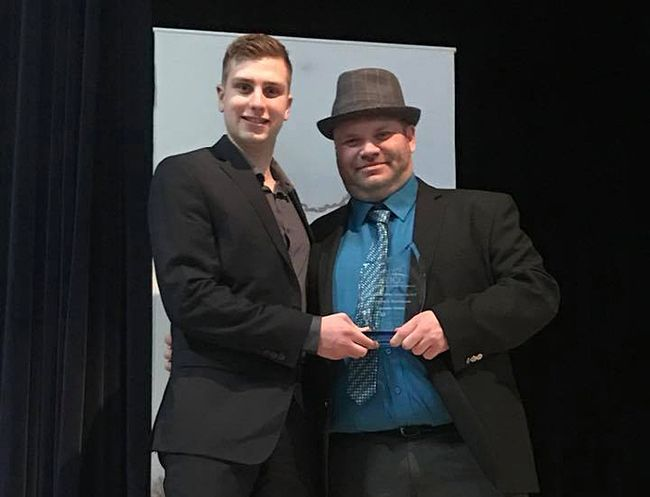 Freshwater Cuisine business manager Torin Bergagnini (left) and corporate chef and CEO Jay Barnard pose with their Innovative Small Business Award at the 2017 Kenora and District Chamber of Commerce Business Awards on Wednesday, Feb. 7. Barnard also recently won the Northwestern Ontario Visionary Award.