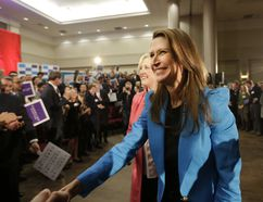 Stan Behal/Postmedia Network Caroline Mulroney thanks supporters at the Logos Fellowship Centre after a conversation with MP Lisa Raitt, who is deputy leader of the federal Conservatives, to discuss Mulroney's candidacy for leader of the Ontario Progressive Conservatives, on Feb. 6.