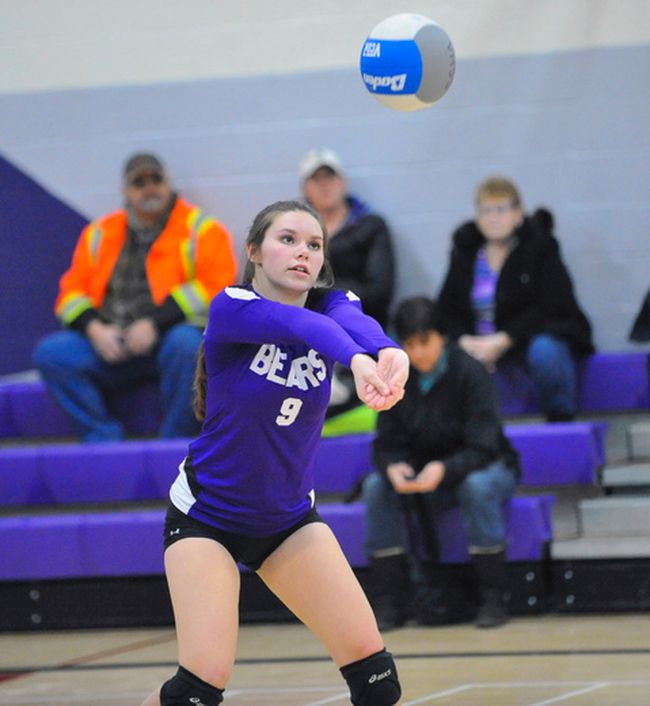 Emily Killingbeck makes a pass during the NSSAA regular season finale vs. Holy Trinity on Thursday at VHSS. The Bears won the contest 25-16, 25-13, 27-25 to claim first place in the NSSAA standings. JACOB ROBINSON/Simcoe Reformer