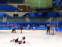 Canadian forward Bailey Bram does pushups during practice at the Pyeongchang Olympics on Feb. 8. (Jean Levac / Postmedia Network)