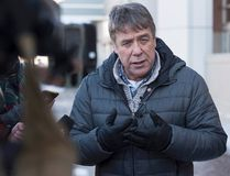 Former federal MP Peter Stoffer talks to reporters to address sexual harassment allegations in Halifax on Friday, Feb. 9, 2018. THE CANADIAN PRESS/Andrew Vaughan