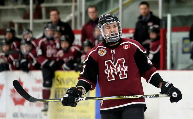 Chatham Maroons defenceman Dawson Garcia plays against the St. Thomas Stars at Chatham Memorial Arena in Chatham, Ont., on Thursday, Feb. 1, 2018. (MARK MALONE/Chatham Daily News/Postmedia Network)