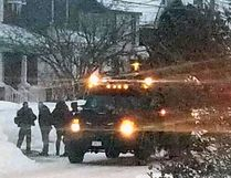 Emergency service unit officers respond to a call in the 400 block of Morin Street in Sault Ste. Marie on Saturday. (Supplied Photo)