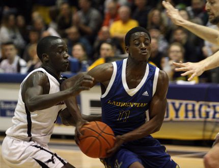 The Laurentian Voyageurs take on the Carleton Ravens during OUA men's basketball action in the Ben Avery Gym at Laurentian University on Saturday, February 10, 2018. Ben Leeson/The Sudbury Star/Postmedia Network
