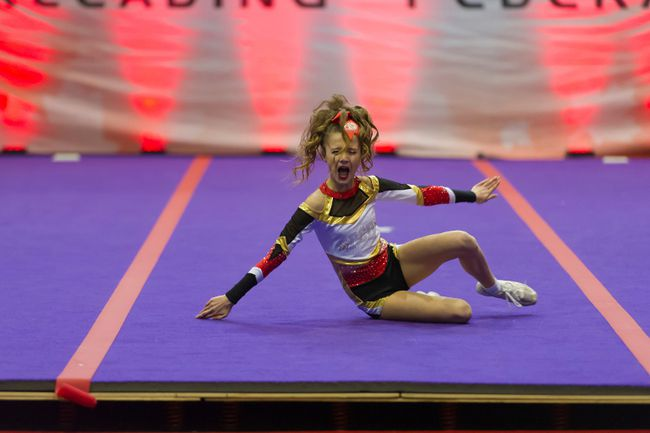 A Precision Cheer and Dance competitor performs during the Ontario Cheerleading Federation Winter Blast Competition at the Cornwall Civic Complex on Saturday.