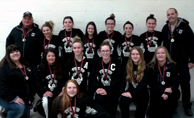 The Kilsyth Young Guns midget girls broomball team won a silver medal at the Federations of Broomball Association of Ontario 2018 Junior Provincial Tournament in Innisfil on Sunday. Photo submitted.