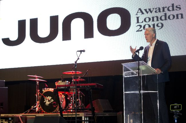 Allan Reid, president of the Juno Awards, speaks at the London Music Hall during a press conference on Monday, Jan. 29, 2018 to announce that London will host the 2019 Juno awards. (DEREK RUTTAN, The London Free Press)