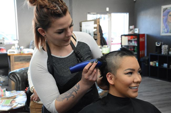 Creedence Rayne gets her head shaven at Curl Up and Dye Hair Salon on Feb. 5.