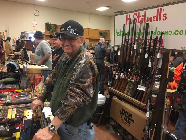Howard Stilwell of H. Stilwell's Guns & Ammo near Langton was one of about 20 vendors to participate the annual Long Point Area Fish and Hunting Show.in Port Rowan on Saturday. Contributed photo