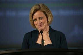 Premier Rachel Notley takes questions from media following a townhall discussion in Fort McMurray Alta. on Friday March 4, 2016. Garrett Barry/Fort McMurray Today/Postmedia Network