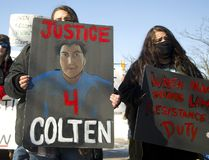 Jordan Mirasty, 16 and her twin sister Janeah of London protest the verdict in the shooting death of Colten Boushie of Saskatchewan. Over 100 protesters listened to speakers first at Victoria Park then walked on the roads with a police escort to the London court house on Monday February 12, 2018. (Mike Hensen/The London Free Press)