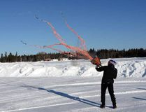 Quebec-based consultant and scientist Serge Couturier practices firing his net gun at the Wawa airport Monday morning in preparation for the translocation of Michipicoten Island caribou to Caribou Island.