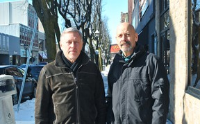 Chatham Kent Community Foundation executive director Hugh Logan and board member Paul Mayrand are shown in downtown Chatham on Monday. The foundation will be giving out over $400,000 in grants to non-profit organizations this year. Tom Morrison/Chatham This Week