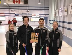 MUCC mixed curlers (L to R) lead Hannah Schuba, second Carter Fettes, skip Tyler Mitchell and third Kayla Kish after winning the NESSAC mixed curling title.