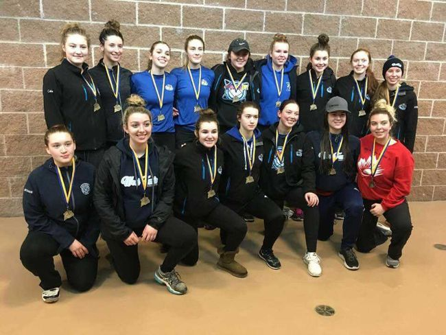 West Ferris U19 ringette team was golden in Guelph on the weekend. Front row: Meghan Latimer, Megan Brouse, Lauryn Hamilton, Hannah Boegel, Emilie Price, Michelle Williamson, and Madison Laframboise. Back row: Rylee Cote, Chanel Cyr, Melanie Brouse, Kirsten Mantha, Mykaela Shymanski, Kaitlin Pace, Dominique Baldasaro, Erin Ablett, and Bobbie-Ann McCulloch. Submitted Photo