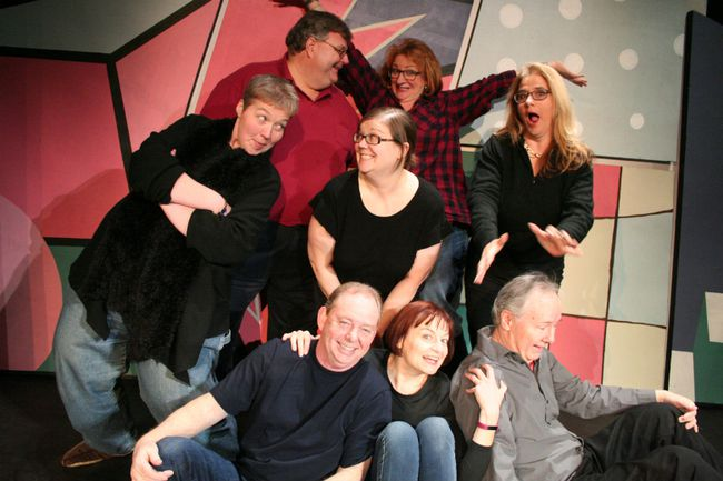 The St. Marys Community Players' Laugh 'n' Learn improv class is hosting its annual improv comedy class graduation show, Afive & Kickin', at the St. Marys Town Hall Theatre Feb. 23 and 24. Pictured in the front row (from left to right) are Don Dingwall, Liane Gregory-Sterritt, and Rob Anderson. In the back row (from left to right) are Amie Rankin, Jim Konopetski, Morgan Houston, Krystine Blair and Janice Blewett. (Submitted photo)