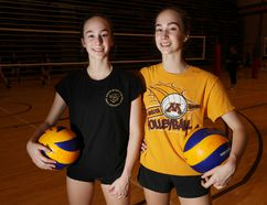 Twin sisters Abby and Emma Benson are both playing for the Junior Bisons U16 club volleyball team. (Brook Jones/Selkirk Journal/Postmedia Network)