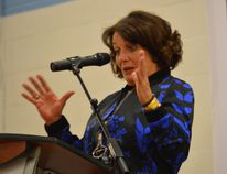 Margaret Trudeau speaks to a crowd of 500 at Northern College Tuesday night. The author and activist encouraged people to learn more about mental health and seek treatment.