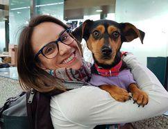 Canadian figure skater Meagan Duhamel with her dog Moo-tae in South Korea.
