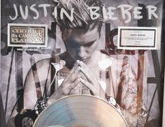 Justin Bieber's 4-times Canadian Platinum Album for his fourth studio album, 'Purpose', presented to Bieber in May 2016. (Galen Simmons/The Beacon Herald)
