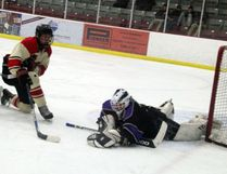 Kody Huber refused to allow Mason Barclay or any of the St. Thomas Aquinas Saints to score the tying goal as he backstopped the Beaver Brae Broncos to a 5-3 win in the final regular season NorWOSSA A/AA boys hockey game at the Kenora Recreation Centre, Tuesday, Feb. 13. SHERI LAMB/Daily Miner and News/Postmedia Network