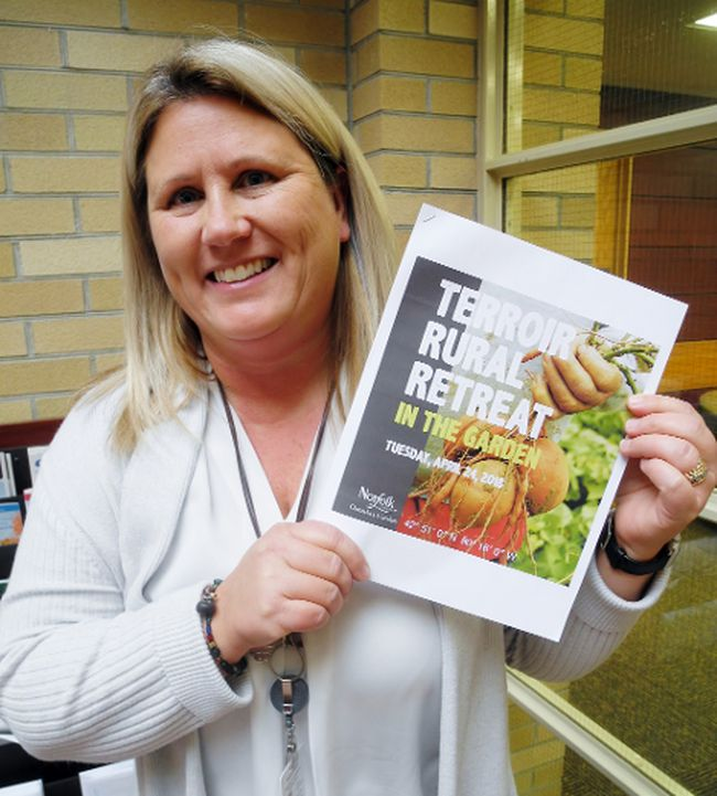 Tracy Haskett, an employee in Norfolk's development and cultural services department, shared the good news this week that Norfolk will play host to the 11th annual Terroir Rural Retreat in April. The retreat will provide Norfolk chefs an opportunity to showcase locally-produced food to 150 national and international tastemakers in the travel and hospitality industry. MONTE SONNENBERG / SIMCOE REFORMER