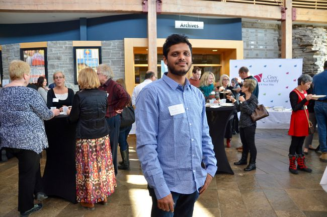 "Rajibul Islam moved to Owen Sound from Bangladesh in late December. His sister lives here but the MBA grad hasn't decided if he'll stay here. He's working part-time at McDonalds for now. He spoke at the ""New to Grey"" event Wednesday at Grey Roots, which kicked off its ""New to Grey"" initiative to attract and support new Canadians here. (Scott Dunn/The Sun Times)"