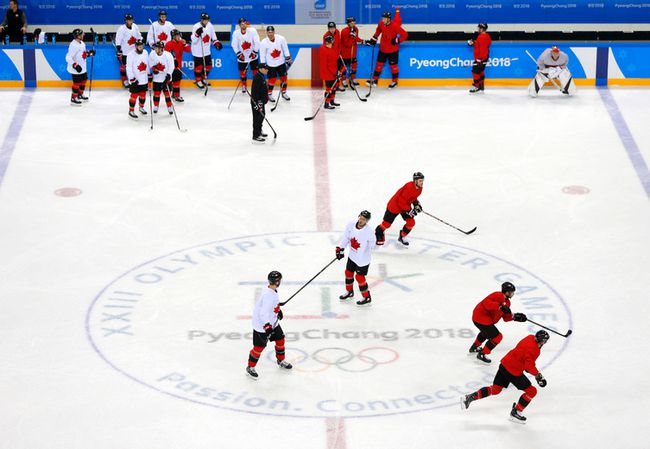 Canadian men's hockey team practice in Gangneung, South Korea, at the 2018 Winter Olympics on Wednesday, Feb. 14, 2018. (Leah Hennel/Postmedia Network)