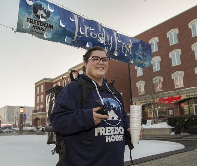 Holly Stewart, a volunteer with Freedom House church, shows the backpack hot chocolate dispenser which will see plenty of use at the annual Frosty Fest this Sunday and Monday at Harmony Square in downtown Brantford. (Brian Thompson/The Expositor)