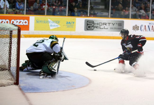 London Knights goaltender Joseph Raaymakers stops Owen Sound Attack forward Ethan Szypula on a breakaway in first-period Ontario Hockey League action on Wednesday in Owen Sound. The Attack won 4-2. (Greg Cowan/Postmedia Network)