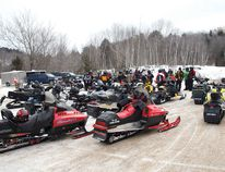 Photo by DAVID BRIGGS/FOR THE STANDARD All makes and models of snowmobiles gathered behind the Lester B. Pearson Civic Centre to head out on the Elliot Lake Snowbirds Snowmobile Club's annual Fun Run.