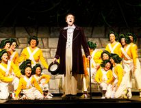 Willly Wonka (Philip Peterson) sings while surrounded by Oompa-Loompas during a dress rehearsal of the Brockville Operatic Society's Willy Wonka on Wednesday night. (RONALD ZAJAC/The Recorder and Times)