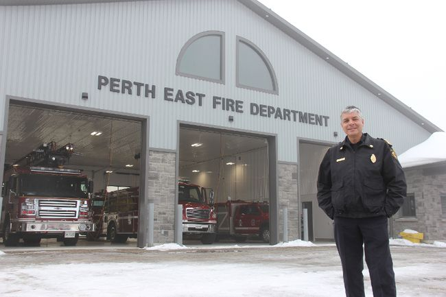 Perth East fire Chief William Hunter stands outside the department's new fire station in Milverton. The new $1.2 million facility is replacing a much smaller station, built in the 1960s, and which the department had long outgrown, he said. (JONATHAN JUHA/THE BEACON HERALD)